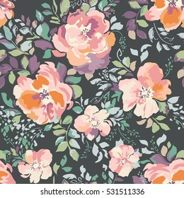 beautiful watercolor roses, vintage painting inspired flower print ~ seamless background
