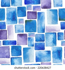 beautiful watercolor - seamless pattern of rectangles, texture paint and paper - hand drawn vector illustration (on the sea, ocean, water, turquoise - for wrappers, textiles, wallpaper, surface)