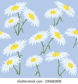 Beautiful watercolor seamless vector background with chamomile