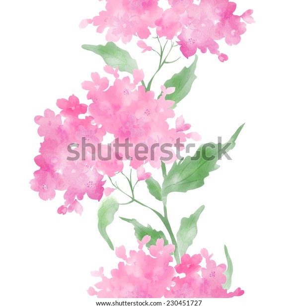 Beautiful watercolor seamless vector illustration with stylized  flower