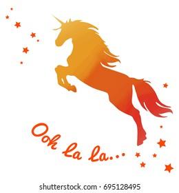 Beautiful watercolor unicorn in Fiery orange tones colors. Text ooh la la.. Beautiful Vector illustration.