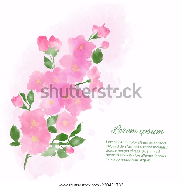 Beautiful watercolor  vector illustration with stylized  flower and text