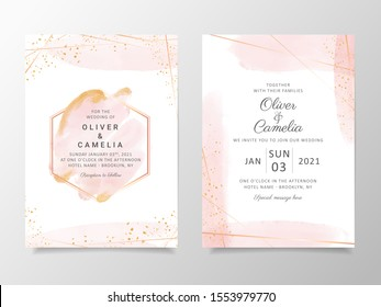 Beautiful watercolor wedding invitation card template set with geometric frame and gold glitter. Abstract background save the date, invitation, greeting card, multi-purpose vector