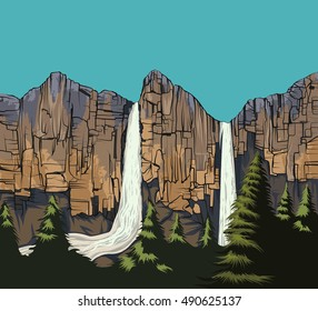 Beautiful waterfall scene vector nature landscape background