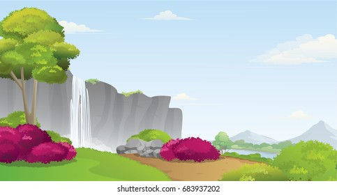 Beautiful Waterfall Scenery with River and Mountains Landscape.Amazing Waterfall from High Cliff.Vector Illustration.