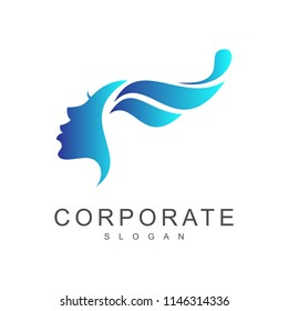 beautiful wave logo, wave with woman face logo