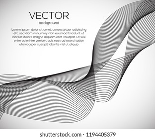 Beautiful wavy abstract background with monochrome lines. Vector motion modern dymamic illustartion.