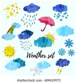 Beautiful weather forecast icon set.
