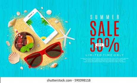 Beautiful web banner for summer sale. Top view on seashells, fresh cocktail, sun glasses, smartphone and sea sand on wooden texture. Vector illustration with special discount offer.
