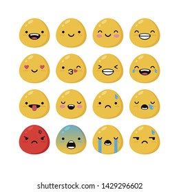 Beautiful web flat pattern of emoticons and stickers with different emotions. Kiss, smile, tears, anger, joy, love.