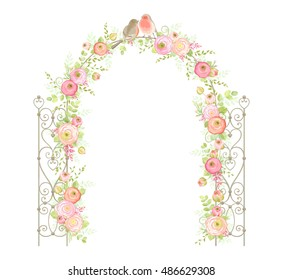 Beautiful wedding arch with flowers Ranunculus, leaves, branches and birds. Vector holiday illustration in vintage style. Floral design.