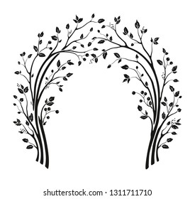 Beautiful wedding arch with tree branches and leaves. Vector holiday illustration. Floral cute silhouette design.