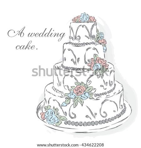 Beautiful Wedding Cake Vector Illustration Greeting Stock Vector