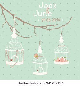 Beautiful wedding card with a bird cage on a branch. Wedding decor. Birdcage, flowers, beads, thread, an inscription.