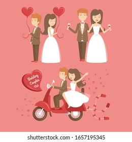 Beautiful wedding couple characters. Bride and groom. Wedding bride and groom couple love, vector illustration