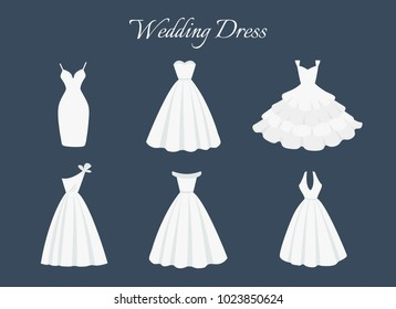 Beautiful wedding dress. Flat dress icon for a bride. Set of vintage white dresses in cartoon flat style isolated on white. Vector illustration collection.