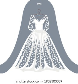 A beautiful wedding dress hangs on a hanger. Beauty and fashion. Background vector illustration template for invitation or card.