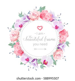 Beautiful wedding floral vector design frame. Purple orchid, violet campanula, bell flower, rose, carnation, eucalyptus leaves and blue berries. All elements are isolated and editable.