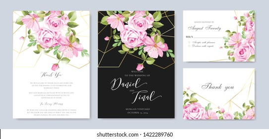 beautiful wedding and invitation card with floral and leaves frame