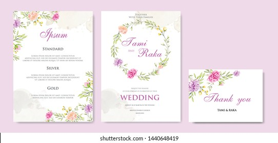 beautiful wedding invitation card with floral wreath template