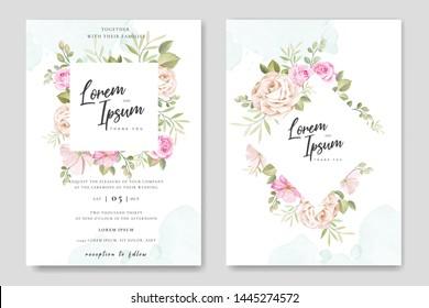 beautiful wedding invitation card floral frame template