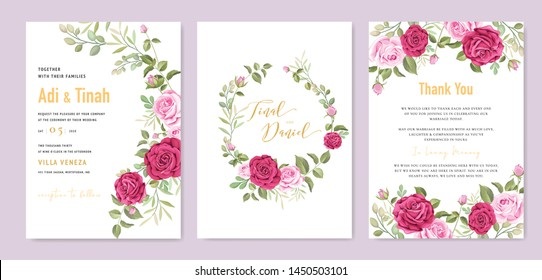 beautiful wedding invitation card with floral and leaves frame template