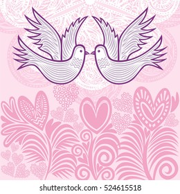 Beautiful wedding invitation card with pigeons. Vector illustration.