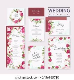 beautiful wedding invitation card set with elegant roses background