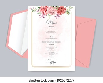 Beautiful wedding invitation card template with floral hand drawn