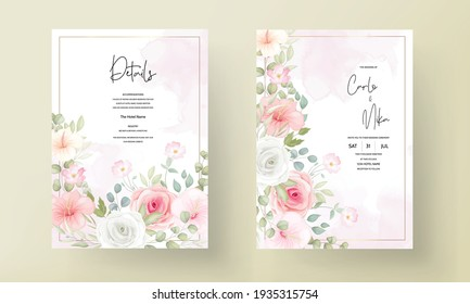 Beautiful wedding invitation with soft floral ornament