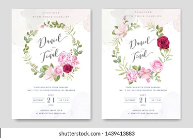 beautiful wedding invitation template with roses in colourful maroon background