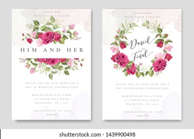 beautiful wedding invitation template with roses in colourful background