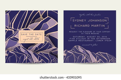 Beautiful wedding set, decorated with abstract mountains. Vintage invitation template