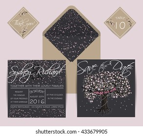 Beautiful wedding set with envelope, decorated with blooming tree. Vintage invitation template