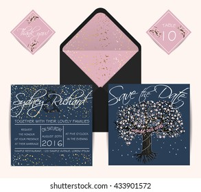 Beautiful wedding set with envelope, decorated with blooming tree. Vintage invitation template, golden glitter design