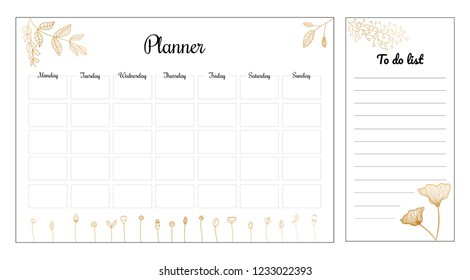 Beautiful weekly planner with gold flowers