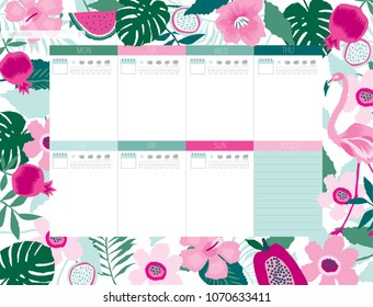 Beautiful weekly planner template. Tropical Garden. Stationery organizer for daily plans. Vector illustration. Print Design.