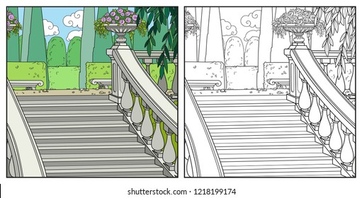 Beautiful well-kept palace park with a large staircase color and outlined for coloring