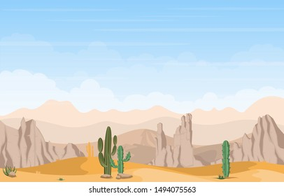Beautiful Western Desert Landscape with Sky Rock Cliff Mountain Vector Illustration