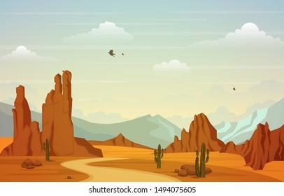 Beautiful Western Desert Landscape with Sky Rock Cliff Mountain Vector Illustration