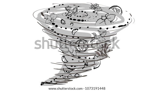 Beautiful Whirl Greens Cooking Cartoon Black Stock Vector Royalty Free 1073191448