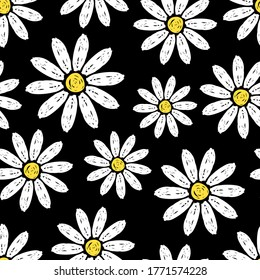 Beautiful white daisy flowers isolated on black background. Cute childish seamless pattern. Hand drawn vector flat graphic illustration. Texture.