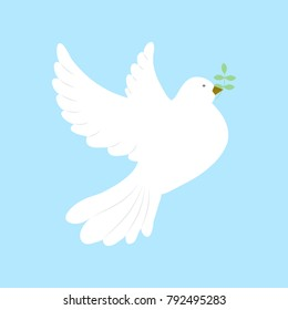 Beautiful white dove in flight with an olive branch on a blue background.Vector illustration.