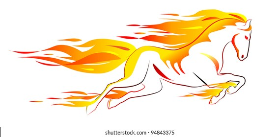 Beautiful white fiery horse isolated on white