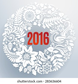Beautiful white floral lace like paper cut wreath with red 2016 in the middle creates a three-dimensional elegant design. Seasons greetings concept. Illustration.