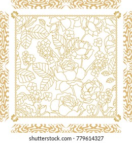 Coloring Book Anti Stress For Adults Brown And White Beautiful Golden Silk Scarf With Linear Floral Print Vintage Frame Blooming