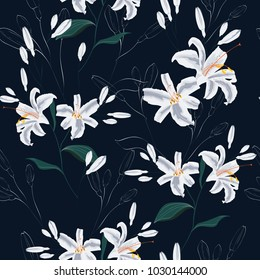 Beautiful white lilies flowers. Seamless pattern on black background. Vector illustration.