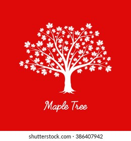 Beautiful white maple tree silhouette on red background. Modern vector sign. Premium quality illustration logo design concept.