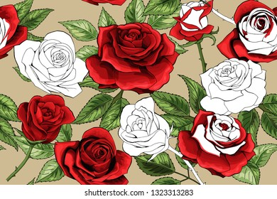 Beautiful white outline and colered red roses seamless pattern background. Hand-drawn contour lines. Design greeting card and invitation of the birthday, Valentines Day, mothers day, other holiday