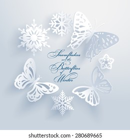 Beautiful white paper cut butterflies and snowflakes create a three-dimensional elegant xmas design element with long shadows. Seasons greetings concept. Vector illustration and photo image available.